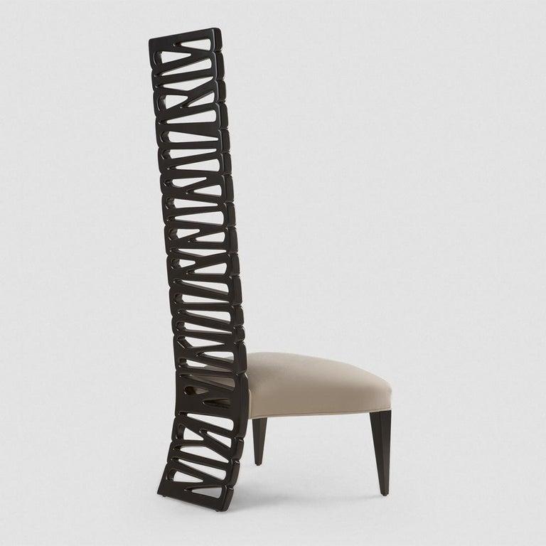 English Okawa Chair in Solid Mahogany Wood For Sale