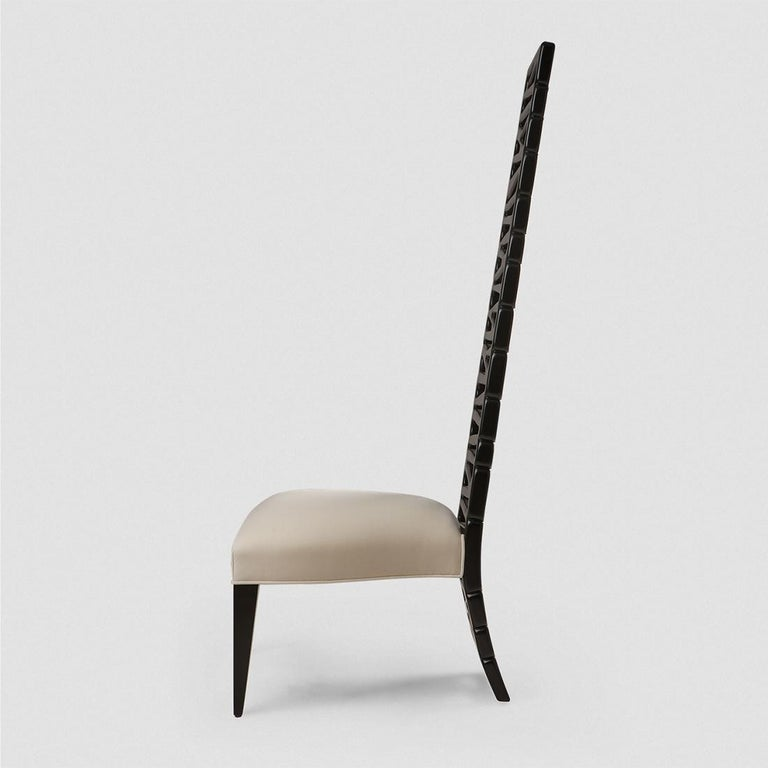 Hand-Carved Okawa Chair in Solid Mahogany Wood For Sale