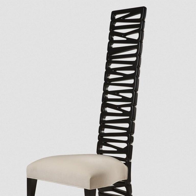 Fabric Okawa Chair in Solid Mahogany Wood For Sale