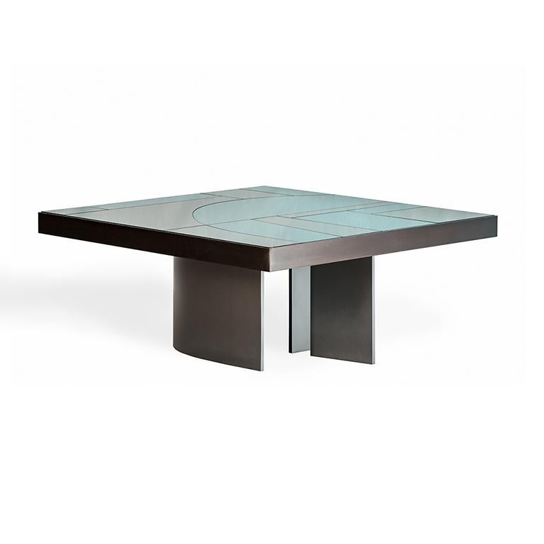 Italian Okeanos Contemporary Coffee Table in Marble and Brass For Sale