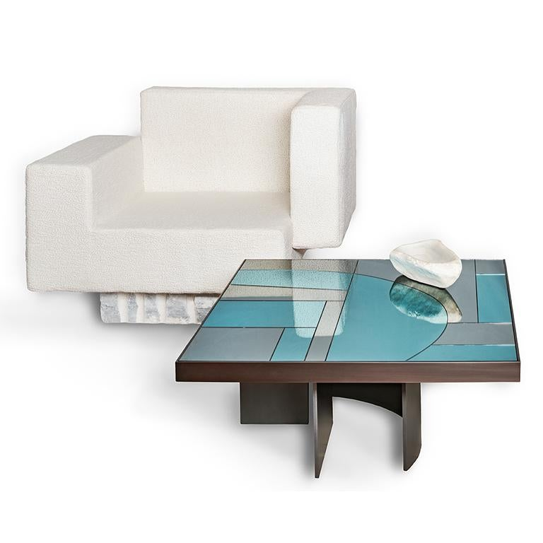 Okeanos Contemporary Coffee Table in Marble and Brass In New Condition For Sale In Firenze, IT
