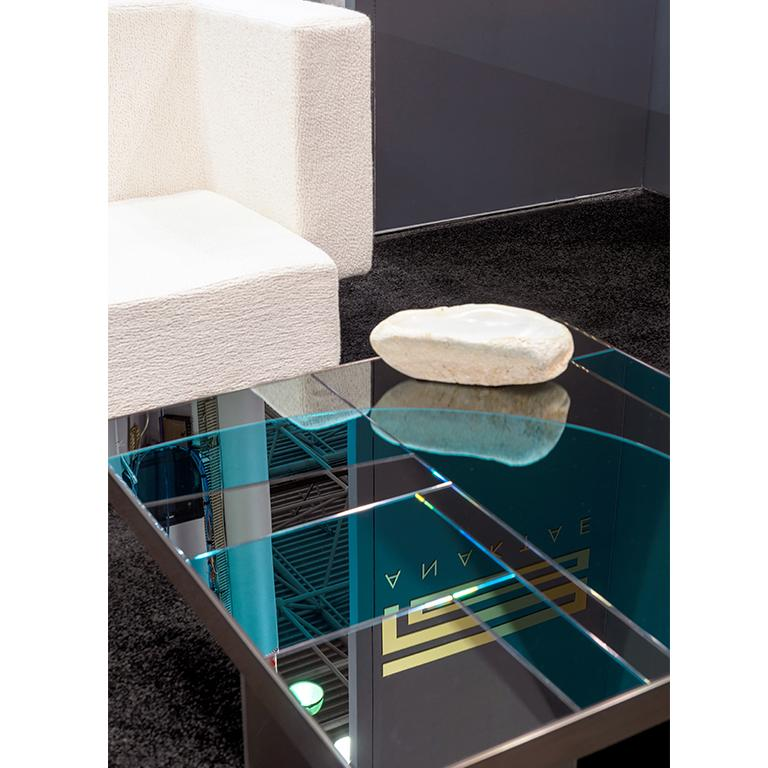 Okeanos Contemporary Coffee Table in Marble and Brass For Sale 1