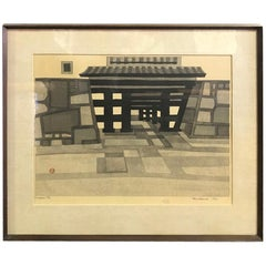 Okiie Hashimoto Limited Edition Japanese Woodblock Print of Temple Entance