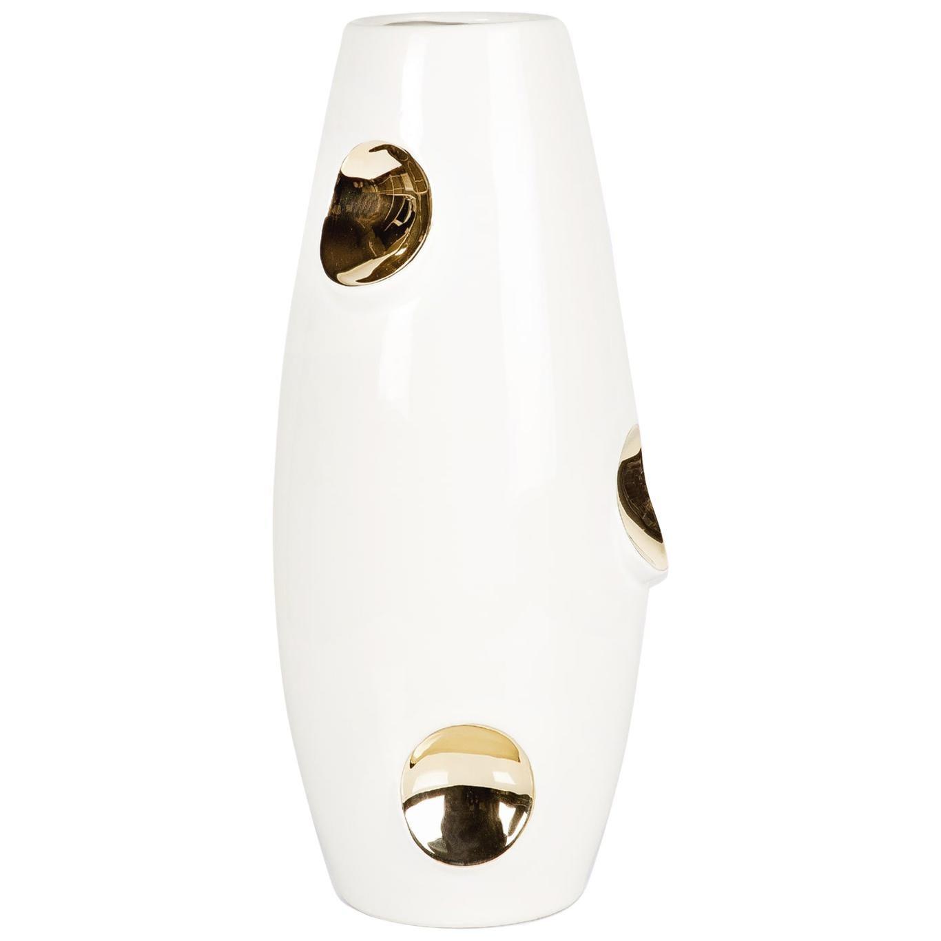 OKO Gold Ceramic Vase by Malwina Konopacka