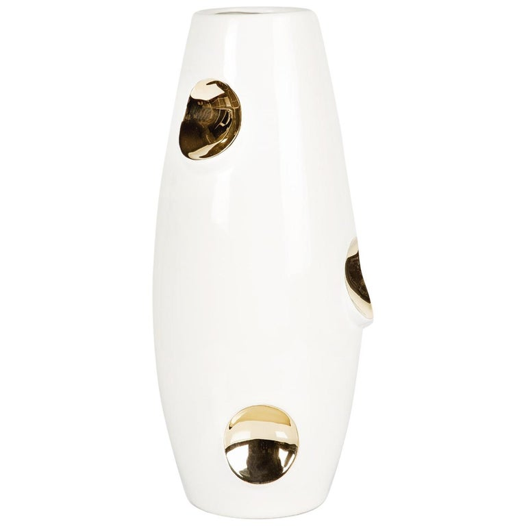 OKO Gold Ceramic Vase by Malwina Konopacka For Sale