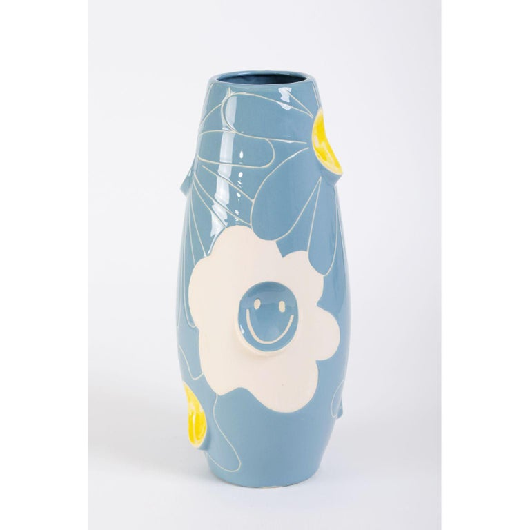 Oko Pop ceramic vase by Malwina Konopacka Unique Sculpture ( Decorated and hand-painted by the artist ) Materials: Ceramics, Sgraffito Blue and Yellow Glaze Dimensions: D19, D42 cm  Also Available: Circus, Mushroom, Smiley, Daisy Denim   OKO