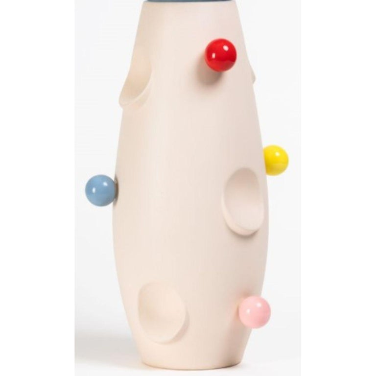 Oko pop ceramic vase - Circus by Malwina Konopacka Unique Sculpture ( Decorated and hand-painted by the artist ) Materials: Impregnated ceramics, glazed interior with pink glaze, glazed glued-on elements Dimensions: D19, H42 cm  Also Available:
