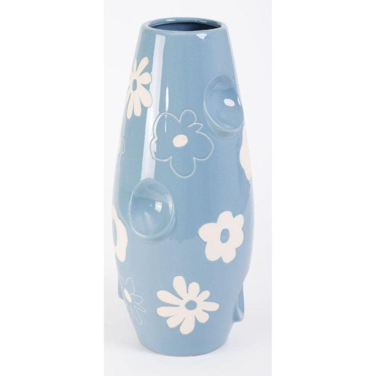 Modern Oko Pop Ceramic Vase, Denim Daisy by Malwina Konopacka For Sale
