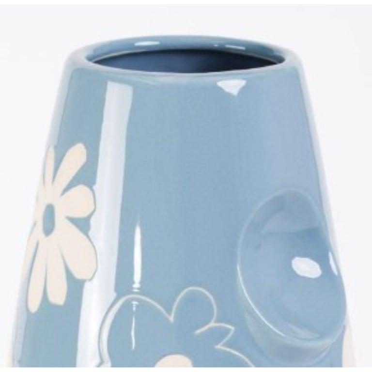 Polish Oko Pop Ceramic Vase, Denim Daisy by Malwina Konopacka For Sale