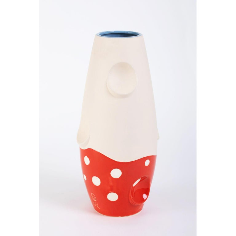 Oko pop ceramic vase - Mushroom by Malwina Konopacka Unique Sculpture ( Decorated and hand-painted by the artist ) Materials: Impregnated ceramics, glazed interior with red glaze Dimensions: D19, H42 cm  Also available: Circus, denim daisy,