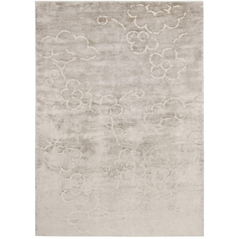 Contemporary Tibetan Rug Hand Knotted In Nepal Light Warm Grey White For