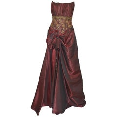 Oksana Mukha Burgundy Embellished Taffeta Ball Skirt with Beaded Corset