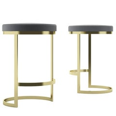 Ola Counter Stool Luxury Modern Style in Steel and Leather