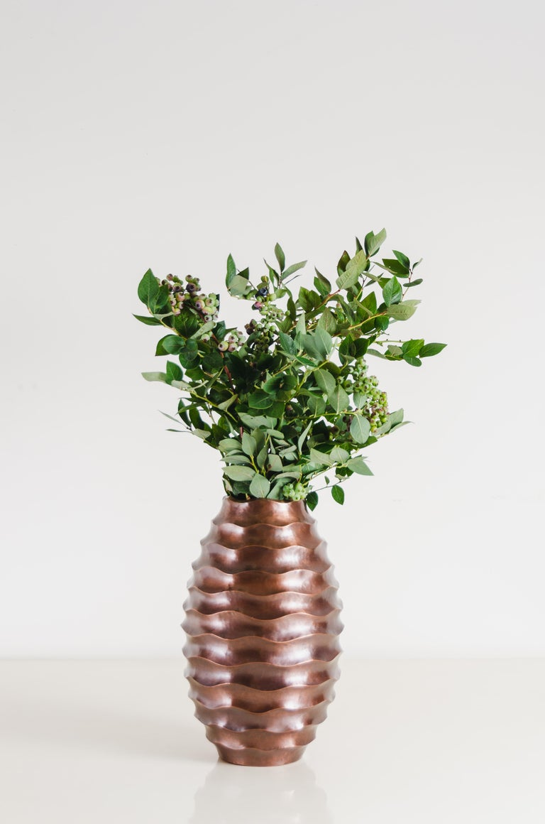 Ola Vase, Antique Copper by Robert Kuo, Hand Repousse, Limited Edition In New Condition For Sale In West Hollywood, CA