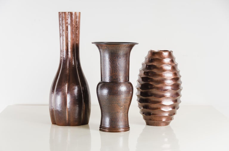 Contemporary Ola Vase, Antique Copper by Robert Kuo, Hand Repousse, Limited Edition For Sale