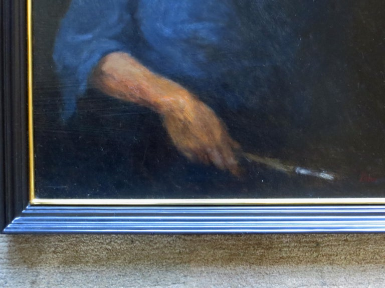 Self Portrait - Black Portrait Painting by Olaf Palm