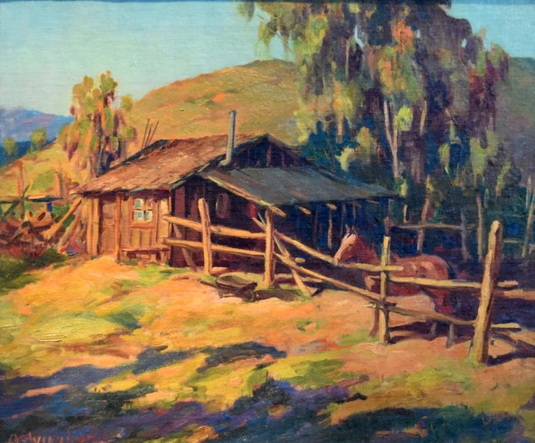 "Olaf Wieghorst Landscape Painting - ""Home Corral""  Very early Wieghorst California Western Painting awesome colors"