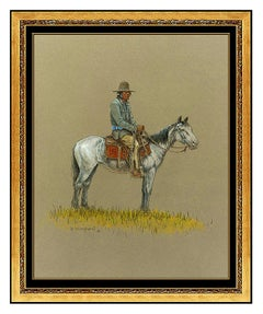 Olaf Wieghorst Gouache Painting On Board Native American Western Horse Signed