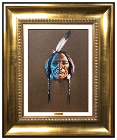 Olaf Wieghorst Original Gouache Painting Native American Portrait Chief Signed