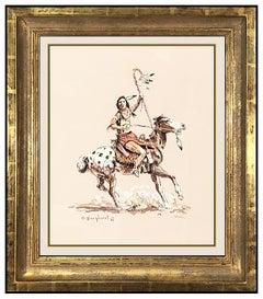 Olaf Wieghorst Original Gouache Painting Signed Native American Western Horse