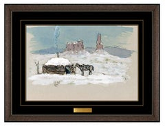 Olaf Wieghorst Original Gouache Painting Western Winter Landscape Horse Signed