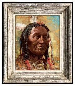 Olaf Wieghorst Original Oil Painting On Board Signed Native American Portrait
