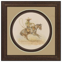 Olaf Wieghorst Watercolor Painting On Board Cowboy Western Horse Signed Artwork