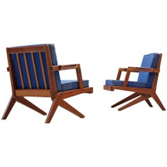 Olavi Hanninen 'Boomerang' Chairs with Blue Upholstery