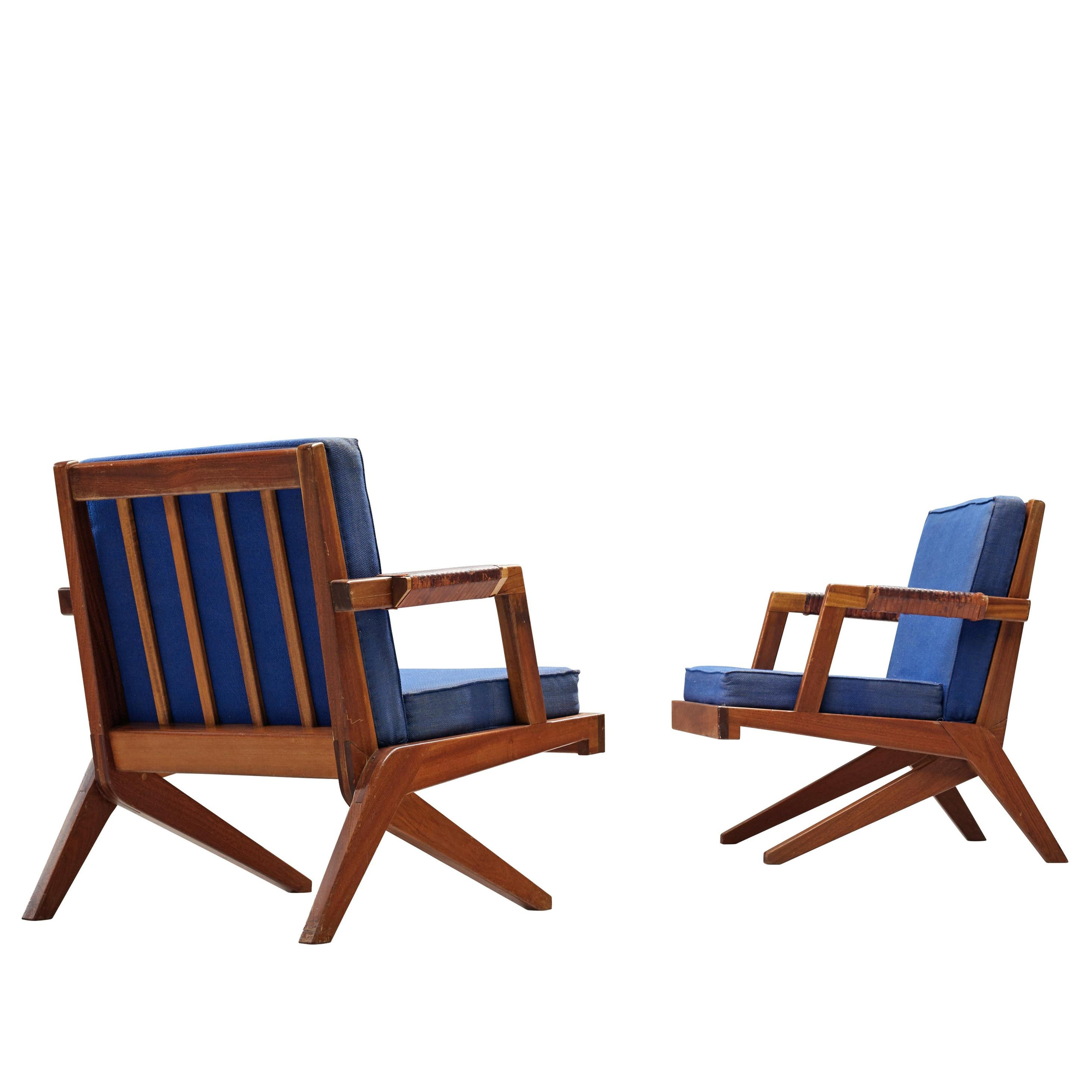 Olavi Hanninen 'Boomerang' Lounge Chairs with Blue Upholstery
