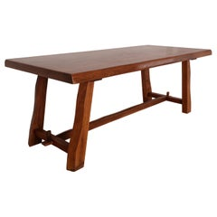 Olavi Hanninen Brutalist Dining Table in Solid Elm, Mikko Nupponen