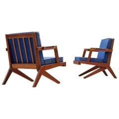 Olavi Hanninen Pair of 'Bumerang' Chairs with Kingsblue Upholstery