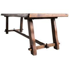 Olavi Hanninen, Rare Large Solid Elm Table, Finland, 1960