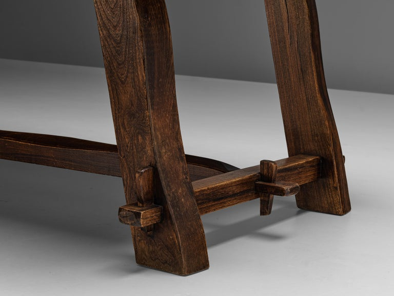 Mid-Century Modern Olavi Hanninen Rustic Dining Table in Solid Elm For Sale