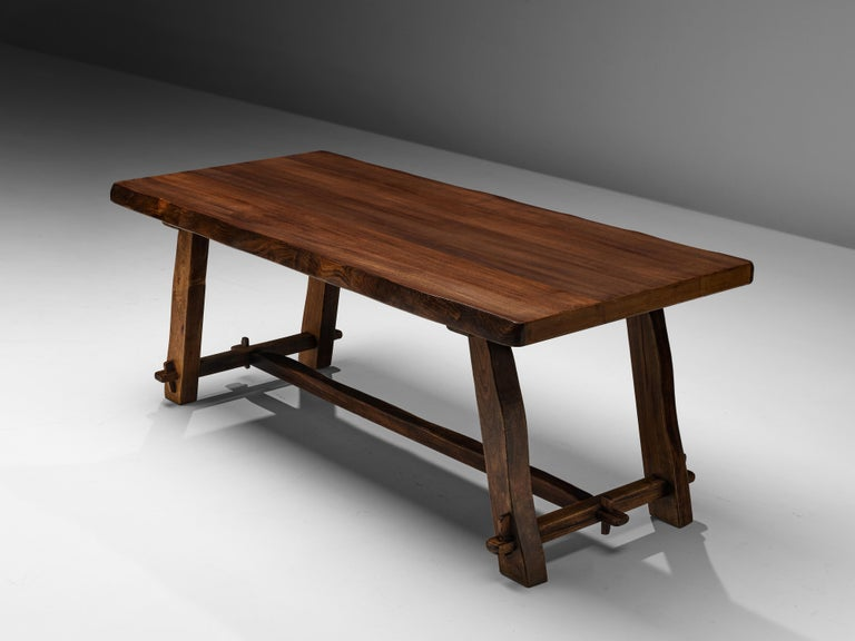 Finnish Olavi Hanninen Rustic Dining Table in Solid Elm For Sale