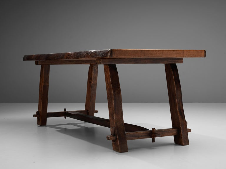 Olavi Hanninen Rustic Dining Table in Solid Elm In Good Condition For Sale In Waalwijk, NL