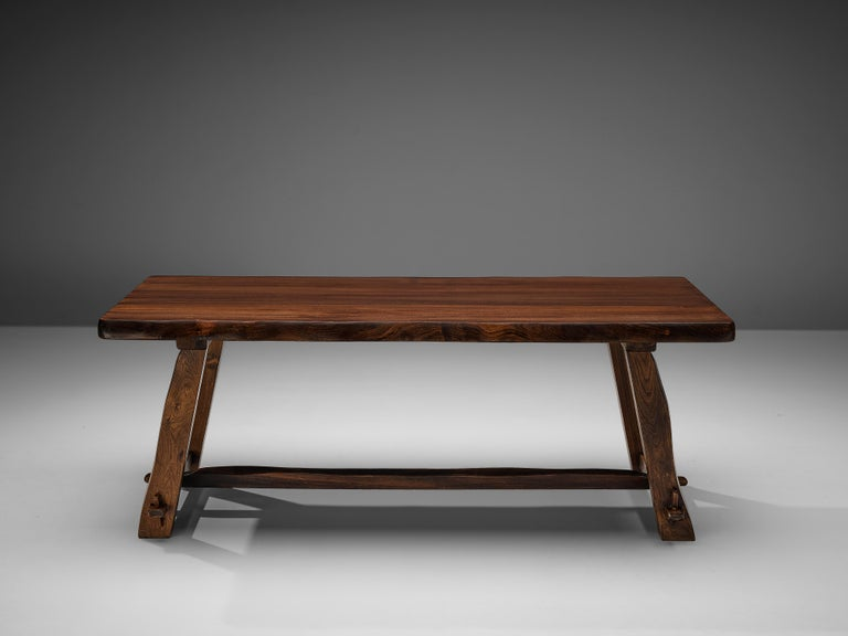 Mid-20th Century Olavi Hanninen Rustic Dining Table in Solid Elm For Sale