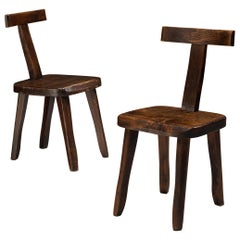 Olavi Hanninen Sculptural Side Chairs in Stained Elm