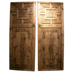 Old 1930s Spanish Lime Washed Wooden Double Door
