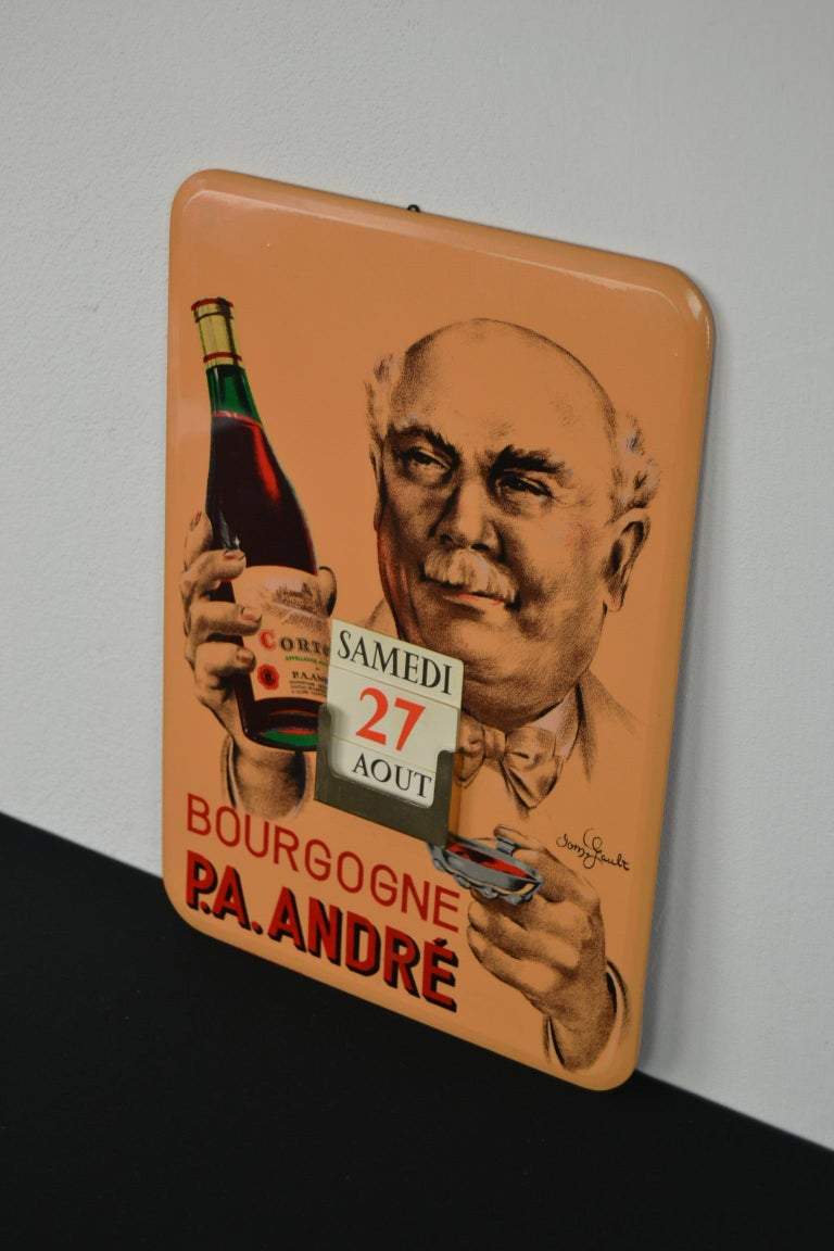 Old Advertising Sign with Calendar for French Wine For Sale 15