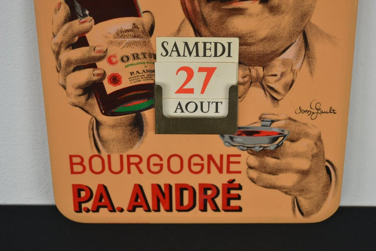 Old Advertising Sign with Calendar for French Wine In Good Condition For Sale In Antwerp, BE