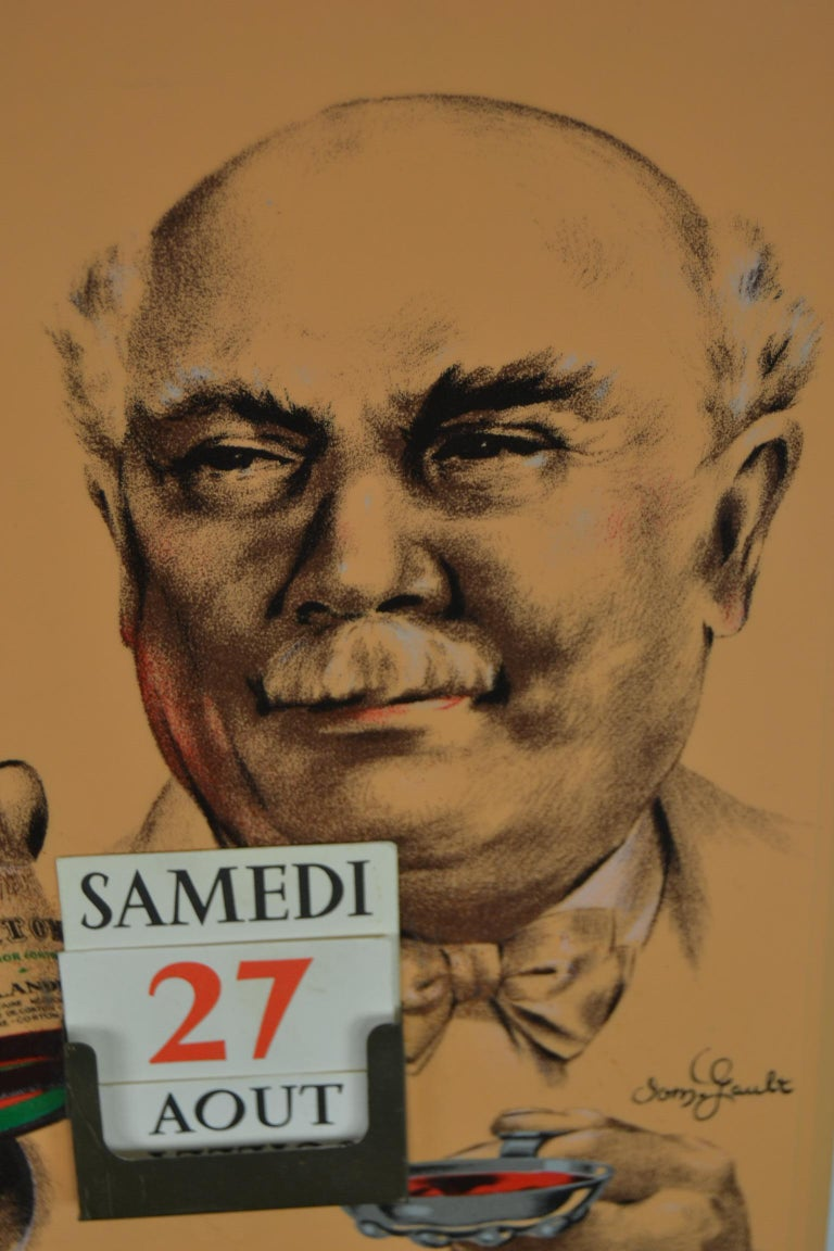 20th Century Old Advertising Sign with Calendar for French Wine For Sale