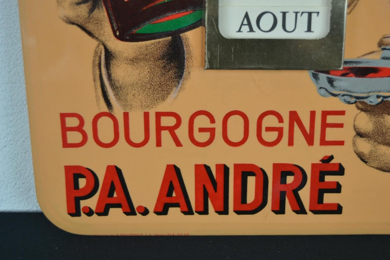 Other Old Advertising Sign with Calendar for French Wine For Sale