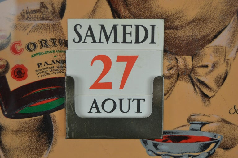 Old Advertising Sign with Calendar for French Wine For Sale 3