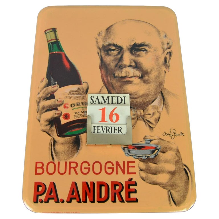 Old Advertising Sign with Calendar for French Wine For Sale