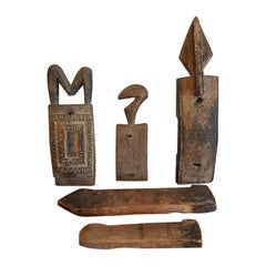 Old African Wooden Carved Figurative Door Lock Parts