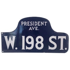 Old American Double Sided Enamel Sign President Avenue Blue and White Industrial