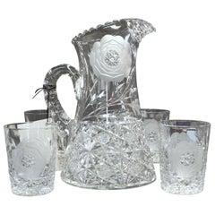 "Old American Handcut Crystal ""Floral Period"" Five Piece ""Clark"" Lemonade Set"