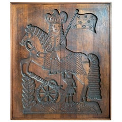 Old and Very Large Solid Mahogany, Folk Art Gingerbread Mold for Wall Display
