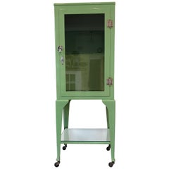 Old Antique Medical Cabinet in Citrus Green, Chrome-Plated Hardware
