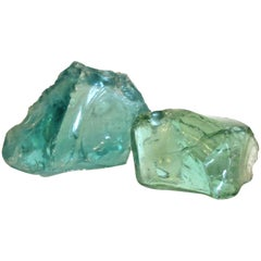 Old Aqua Green Factory Cullet Glass Chunks